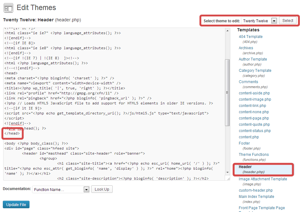 What you're looking for in the WordPress code editor