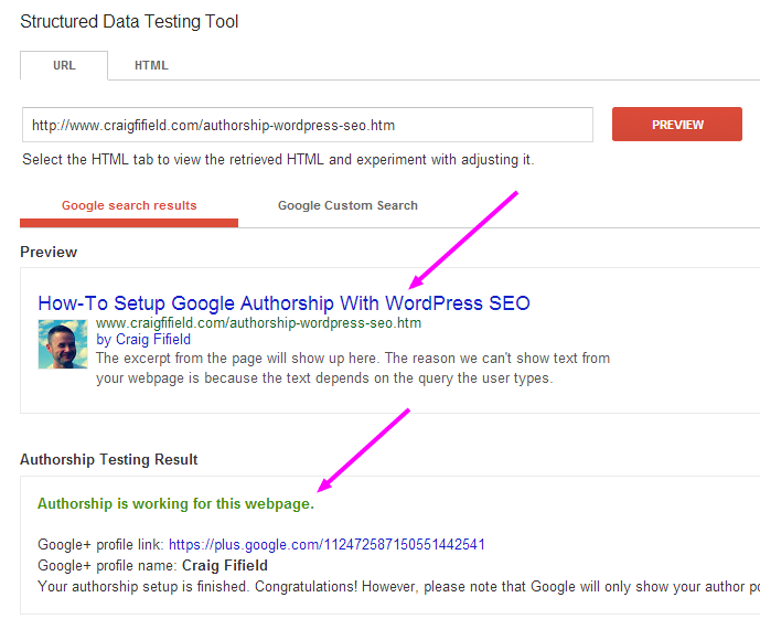 Successful Google Authorship Test